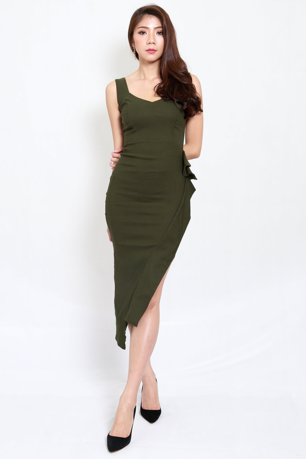 Mystic Asymmetrical Dress (Olive)