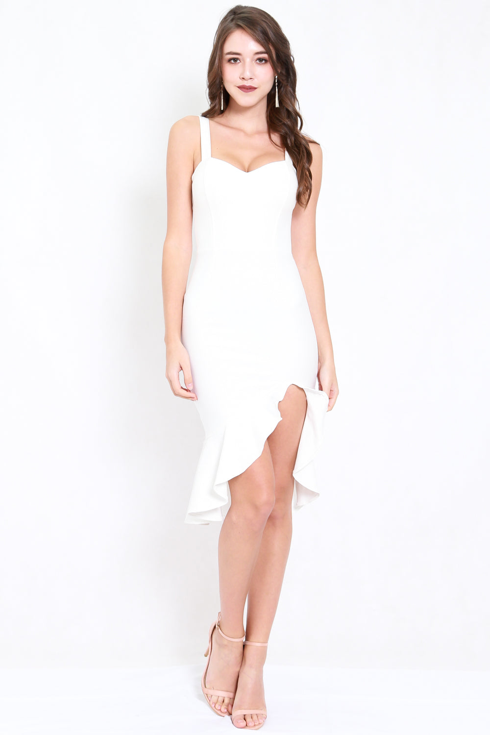 *Premium* Sweetheart Ruffle Slit Dress (White)