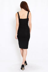 Square Neck Slit Midi Dress (Black)