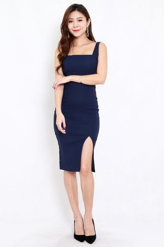 Square Neck Slit Midi Dress (Navy)