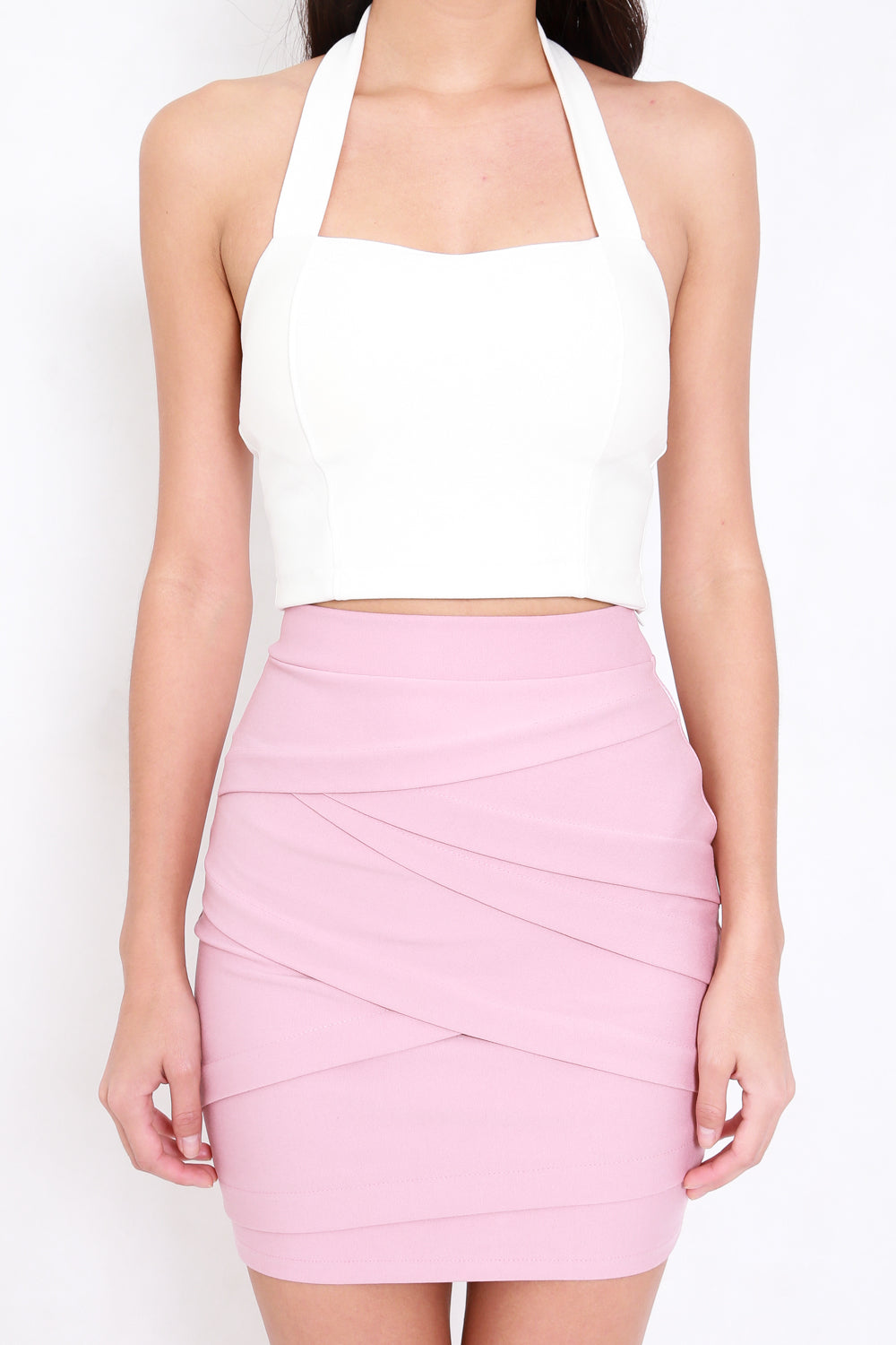 *Premium* Criss Cross Bandage Skirt (Light Pink)