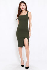 Square Neck Slit Midi Dress (Olive)