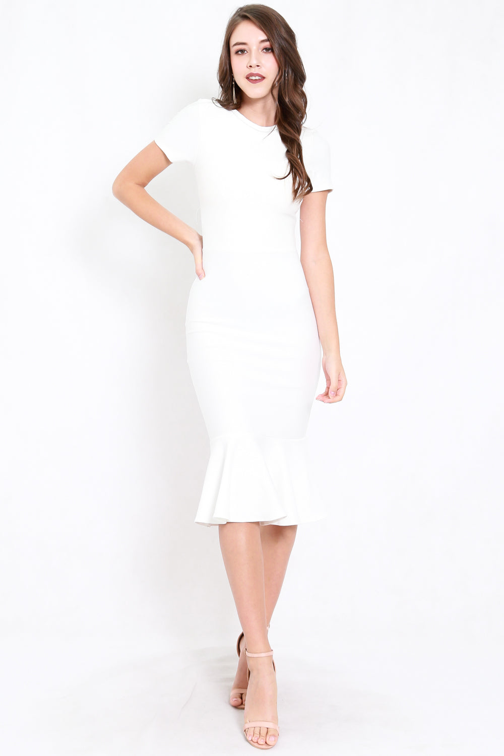 *Premium* Mermaid Sleeved Midi Dress (White)