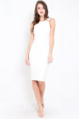 *Premium* Low Back Midi Dress (White)