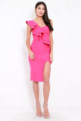 *Premium* Ruffle Toga Slit Midi Dress (Barbie Pink)