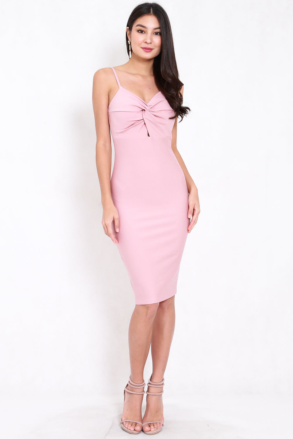*Premium* Twist Knot Midi Dress (Light Pink)