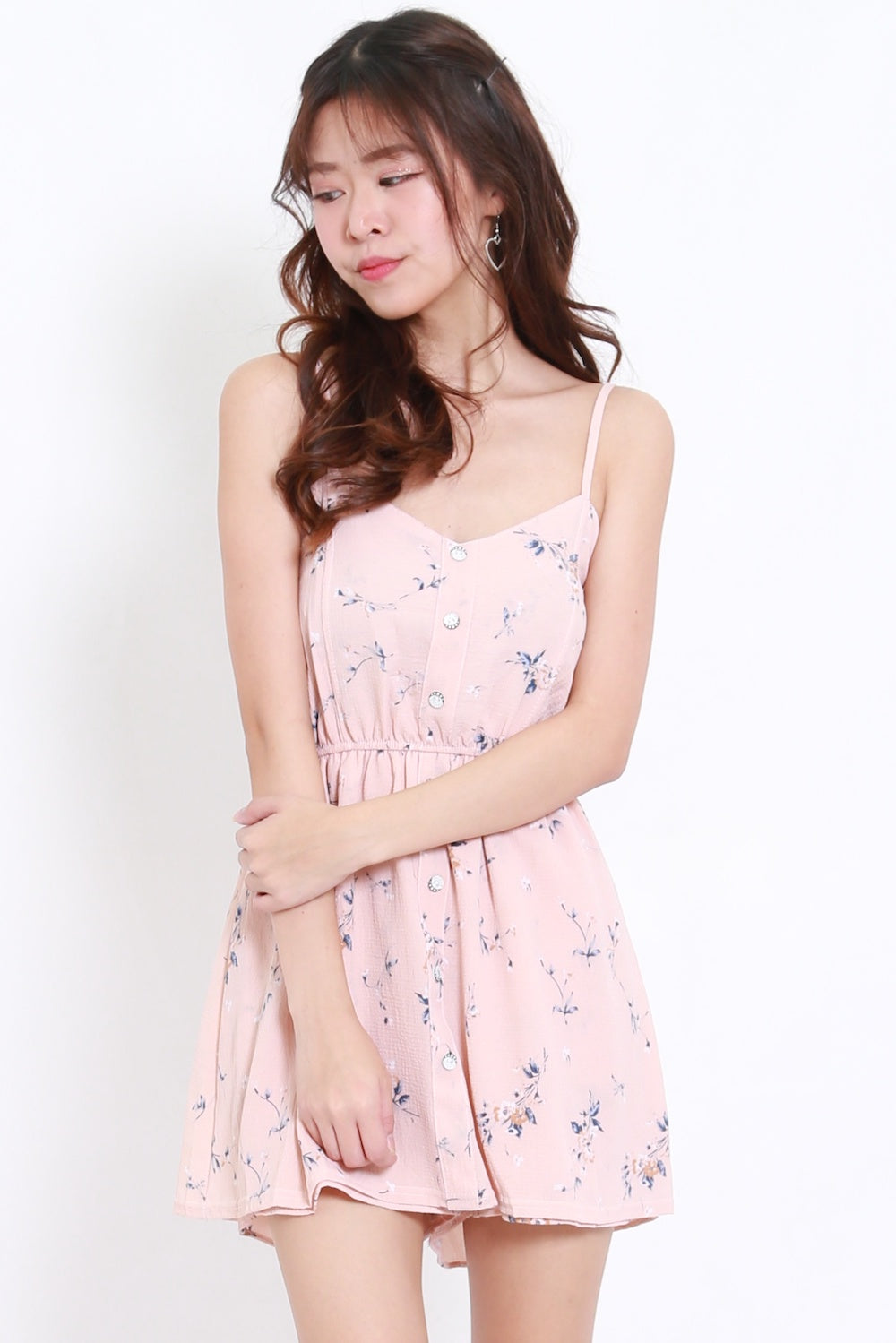 b1b2505244ea Buttons Floral Baby Romper Dress (Pink) – Carrislabelle