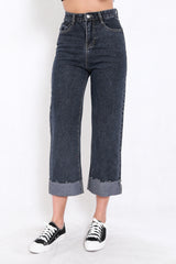 Cuffed Mom Jeans (Dark)