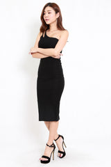 Double Strap Toga Midi Dress (Black)
