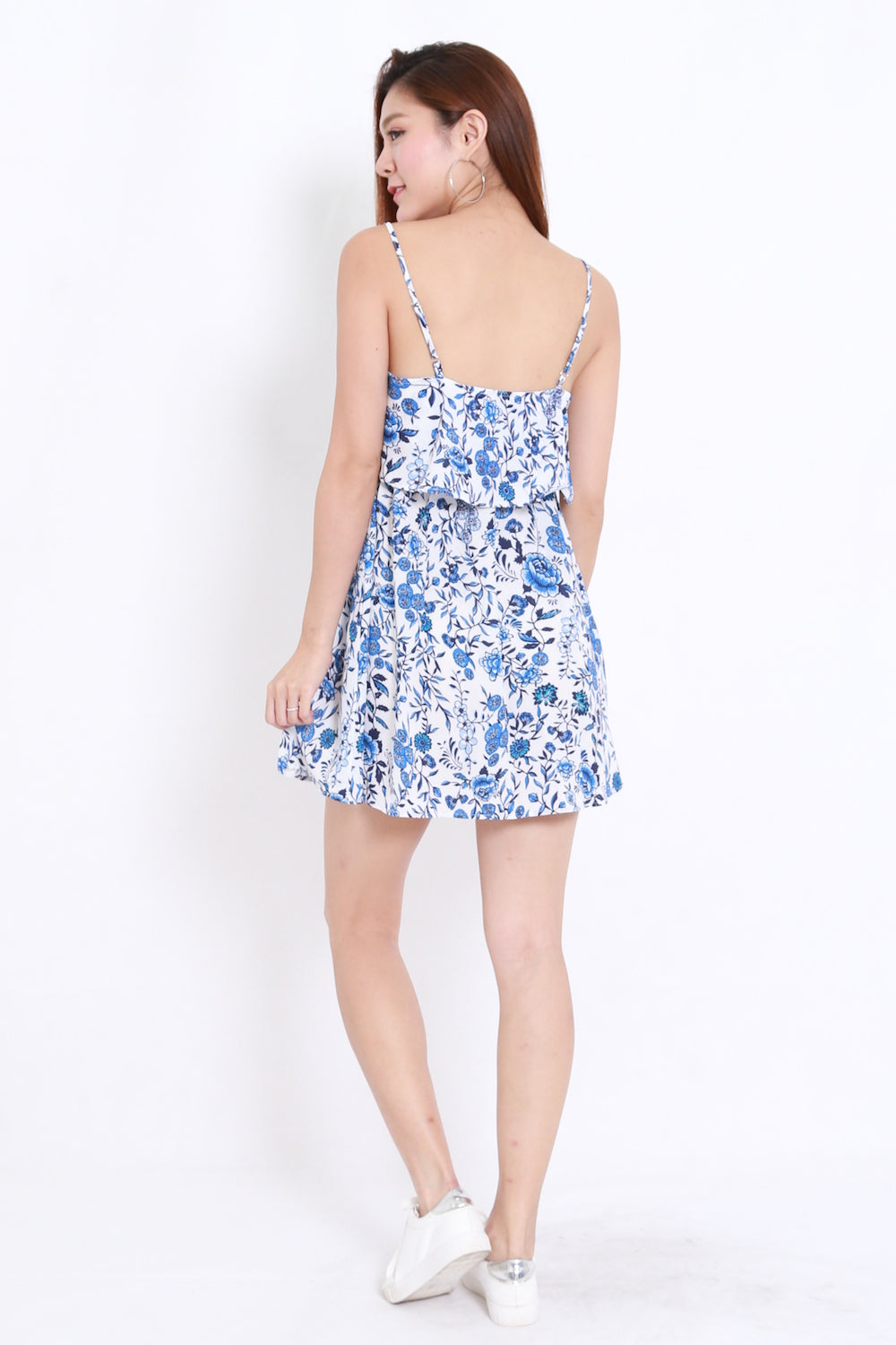 Blue Floral Spag Dress