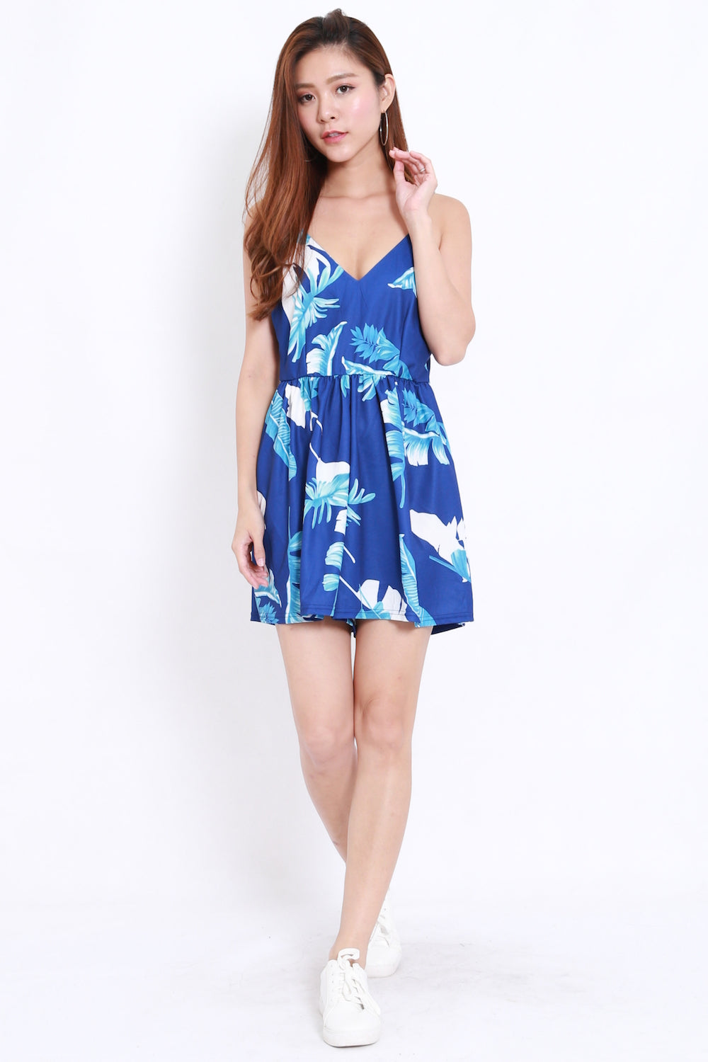 V Neck Romper (Blue Leaves)