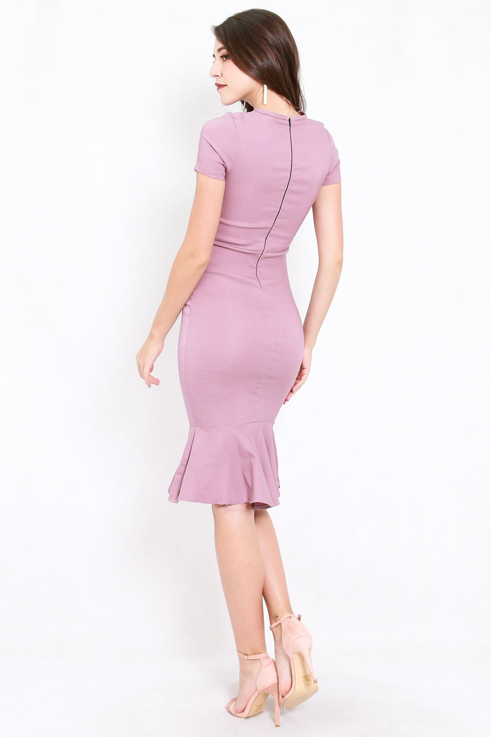Mermaid Sleeved Midi Dress (Lavender)