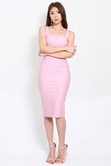 *Premium* Square Neck Midi Dress (Light Pink)