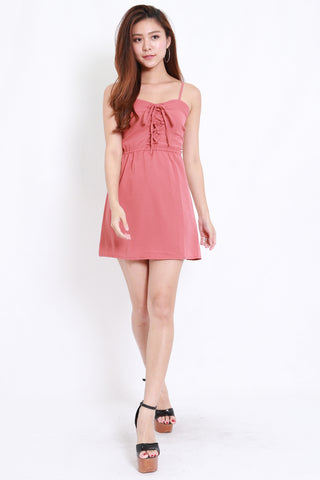 Lace Babydoll Romper Dress (Coral)