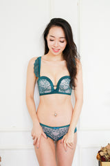 Sweet Laces Push Up Bra Set (Green)
