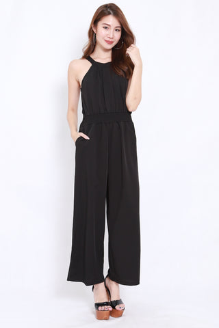 High Neck Pocket Jumpsuit (Black)
