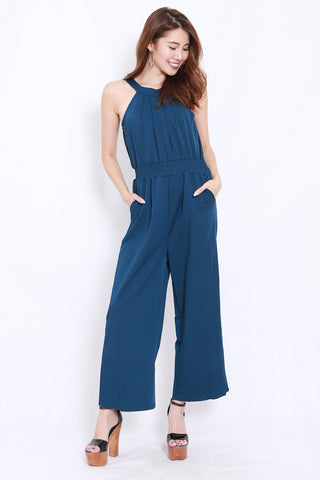 High Neck Pocket Jumpsuit (Teal)