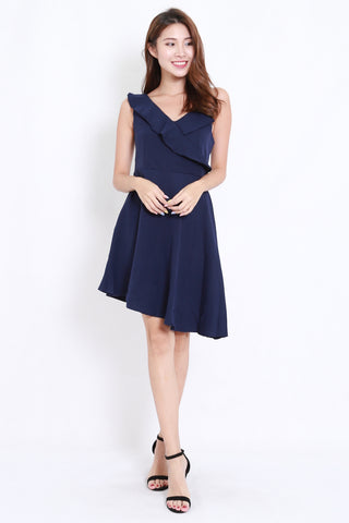 Asymmetrical Ruffle Dinner Dress (Navy)