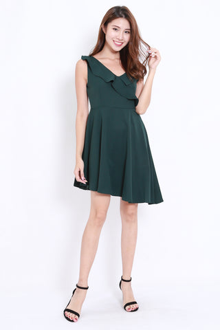 Asymmetrical Ruffle Dinner Dress (Forest)