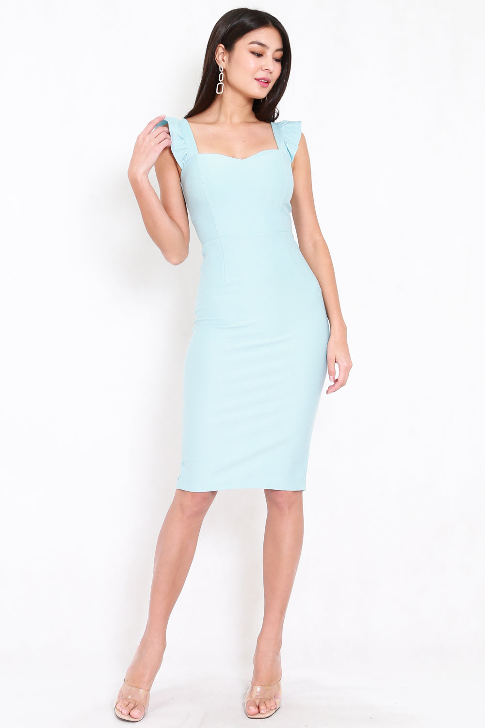 *Premium* Ruffle Sleeve Midi Dress (Tiffany Blue)