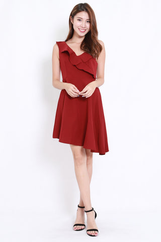 Asymmetrical Ruffle Dinner Dress (Maroon)