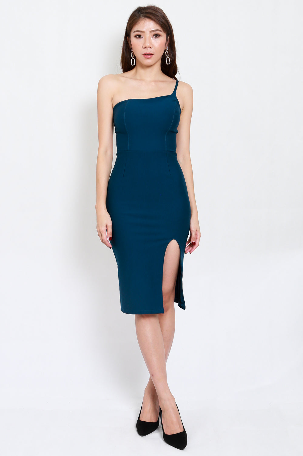 *Premium* Slit Toga Midi Dress (Teal)