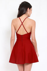 *Premium* Cross Back Halter Skater Dress (Maroon)