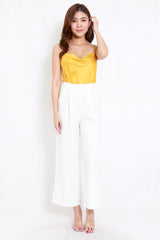 Satin Cowl Neck Top (Yellow)