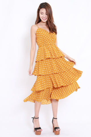 Polka Layer Midi Dress (Mustard)