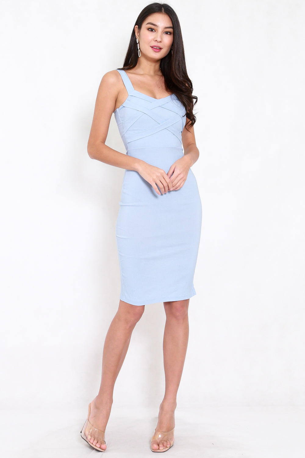Braided Midi Dress (Baby Blue)