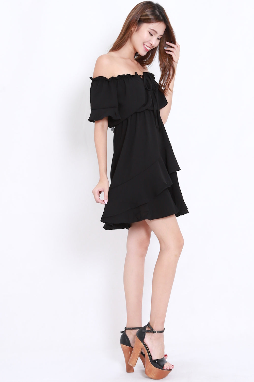 Black Ruffle Offsie Dress