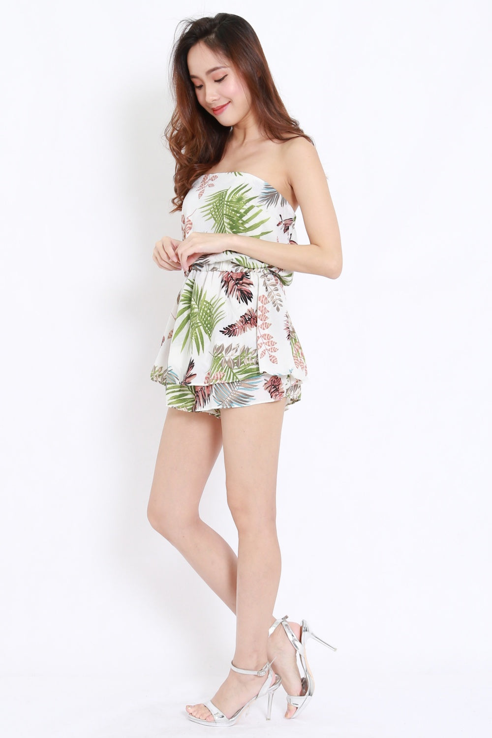 Abstract Leaves Tube Romper (White Tropical)