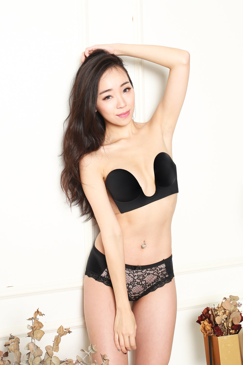 Plunge Neck Backless Bra (Black)