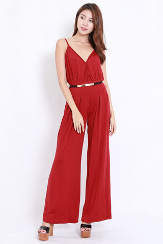Overlap Flare Jumpsuit (Red)