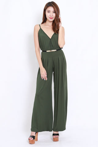 Overlap Flare Jumpsuit (Olive)