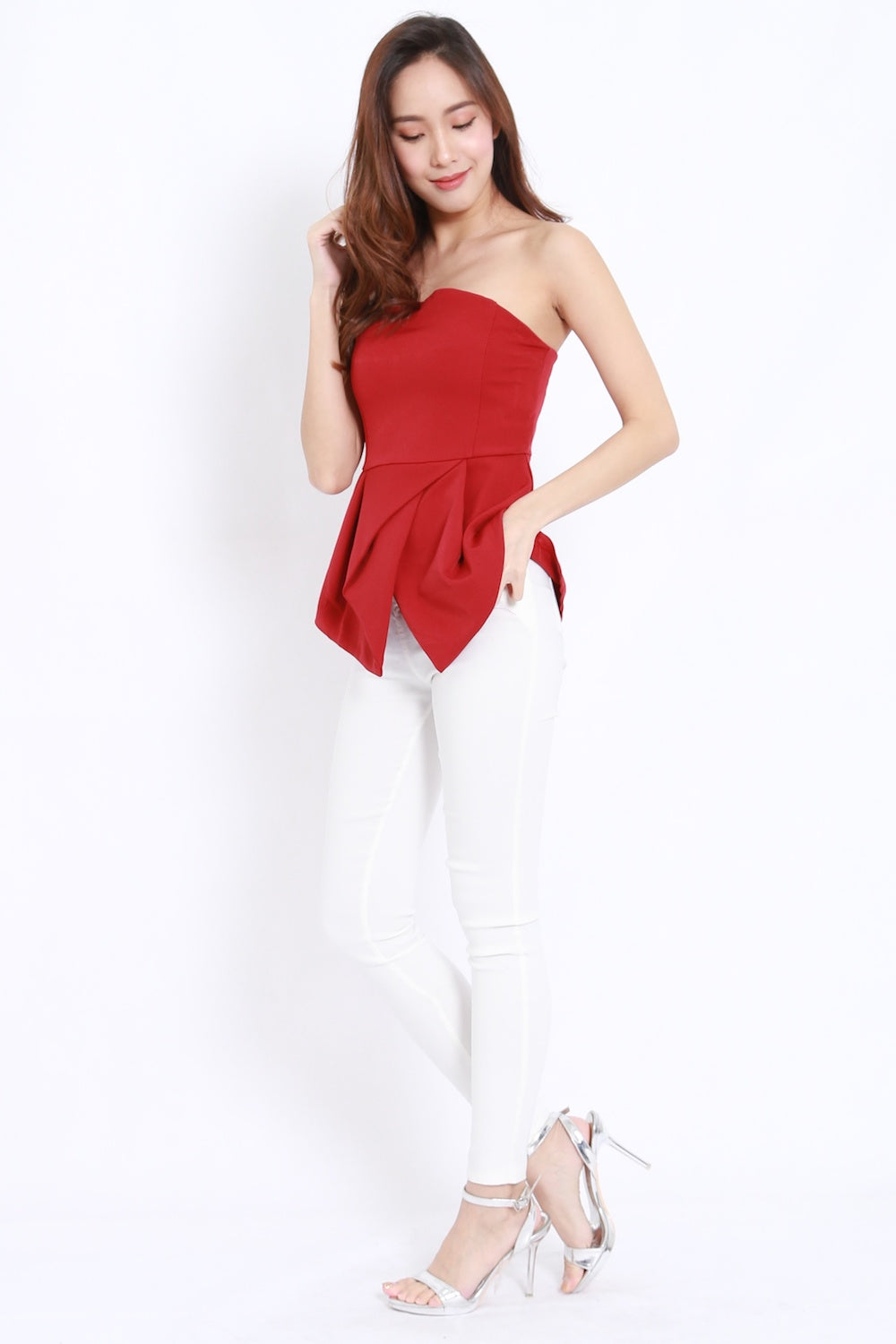 Asymmetrical Hem Tube Top (Red)