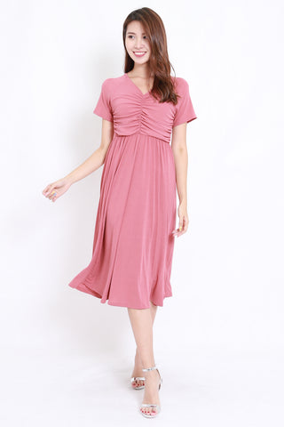 Scrunched V Midi Dress (Pink)