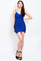 *Premium* Overlap Curve Hem Dress (Cobalt Blue)