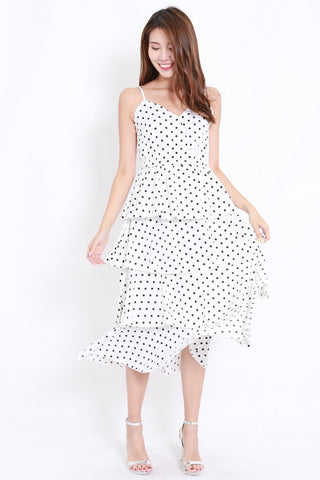 Polka Layer Midi Dress (White)