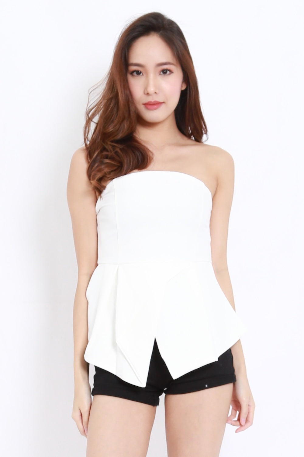 Asymmetrical Hem Tube Top (White)