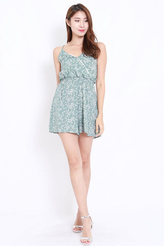 Dainty Floral Overlap Romper (Green)