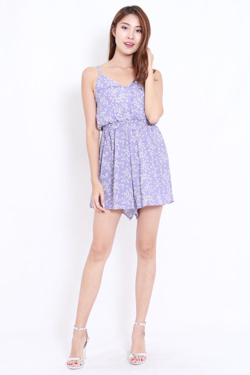 Dainty Floral Overlap Romper (Purple)
