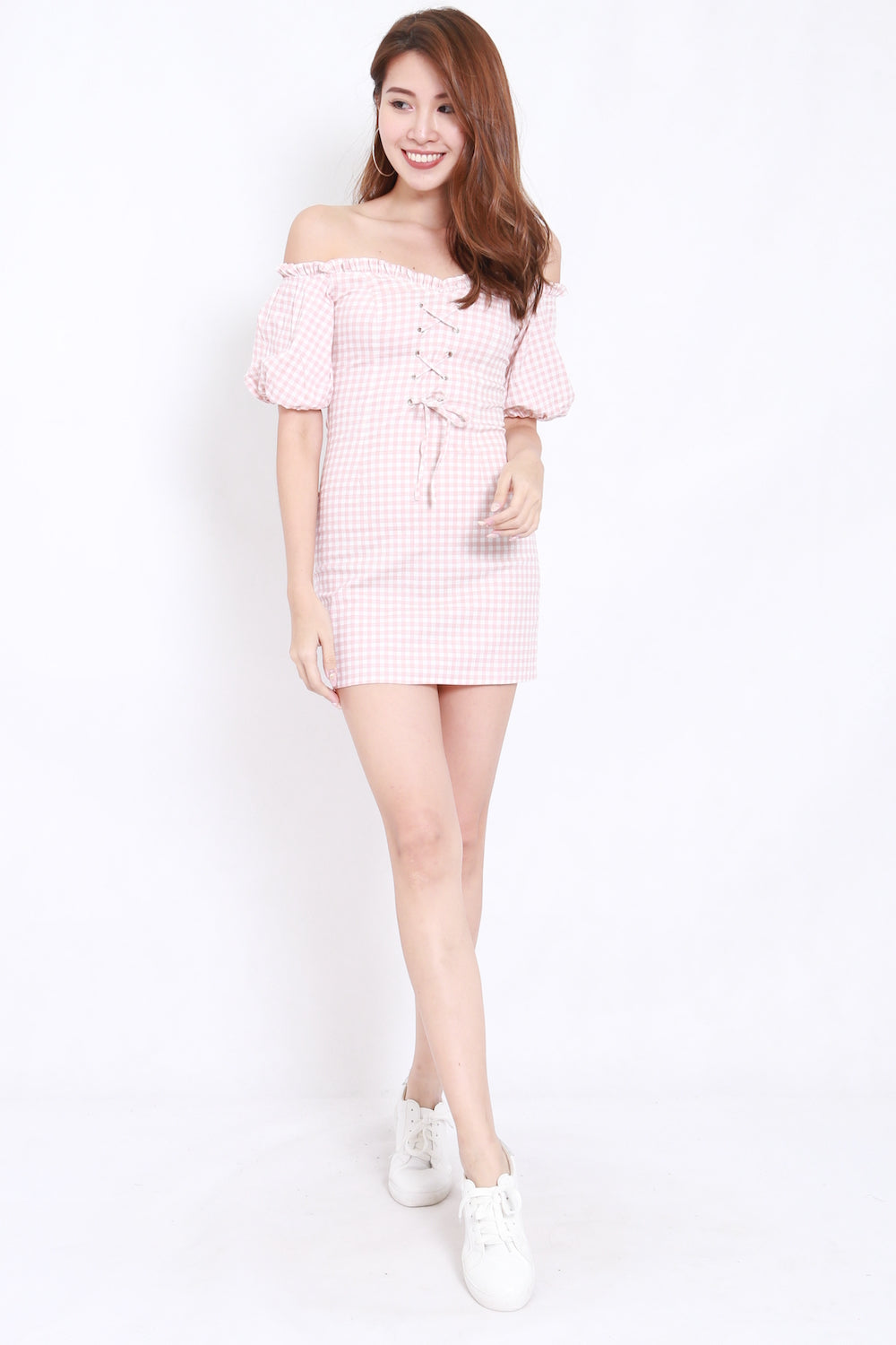 Sweetheart Gingham Offsie Dress