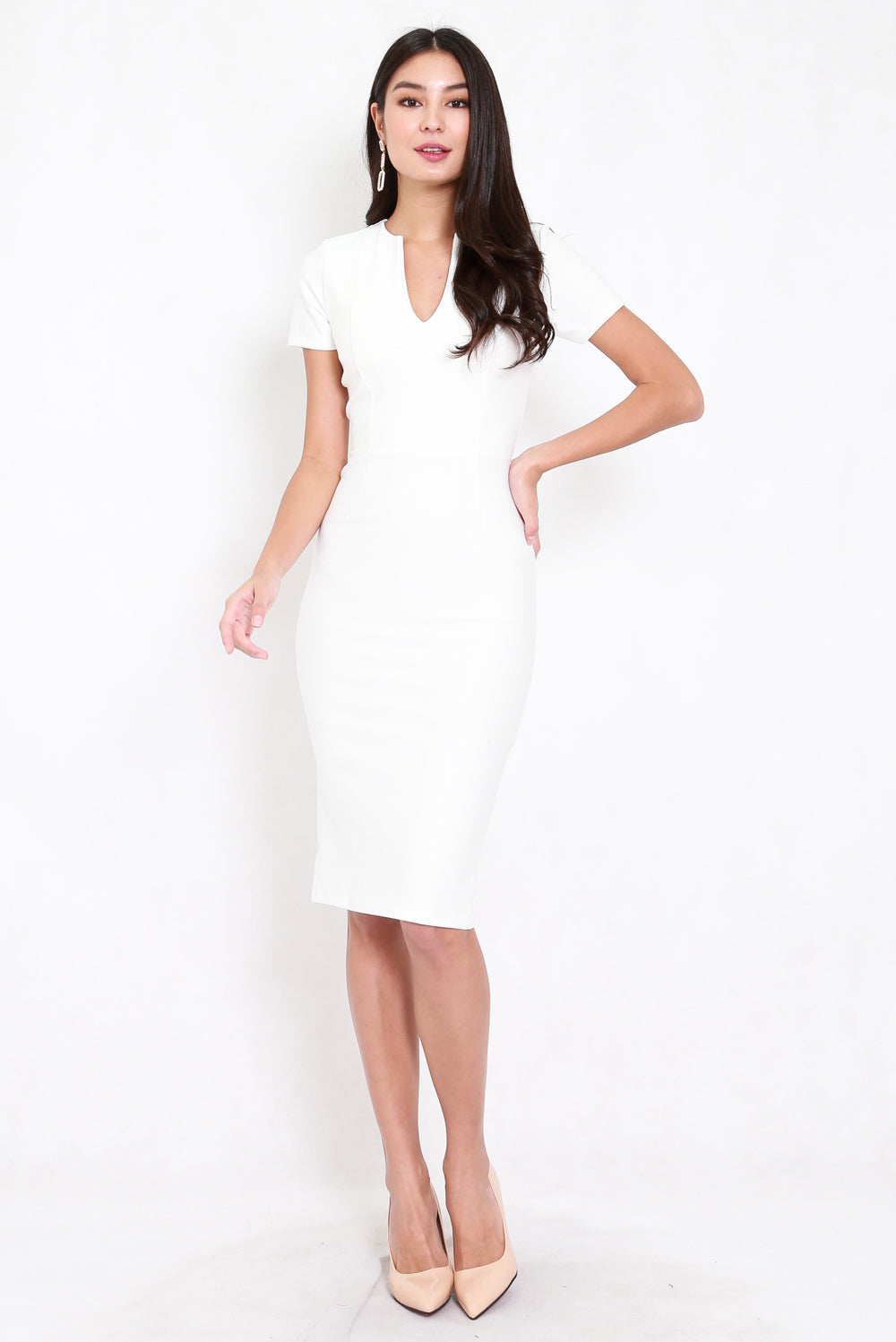 *Premium* V Cut Midi Dress (White)