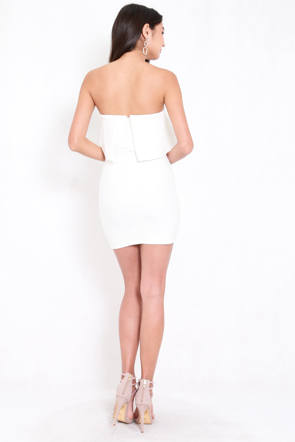 *Premium* Ruffle Tube Slit Dress (White)