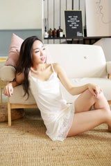 Lacey Satin Night Gown (White)