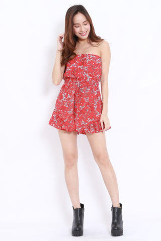 Floral Tube Romper (Red)
