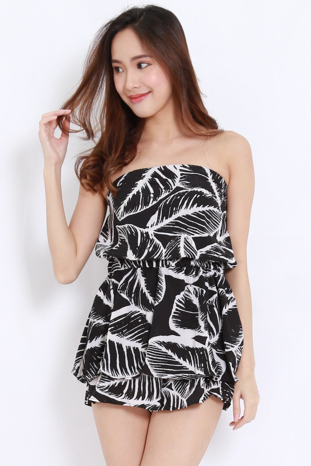 Abstract Leaves Tube Romper (Black Leaves)