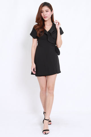Ruffle Wrap Dress (Black)