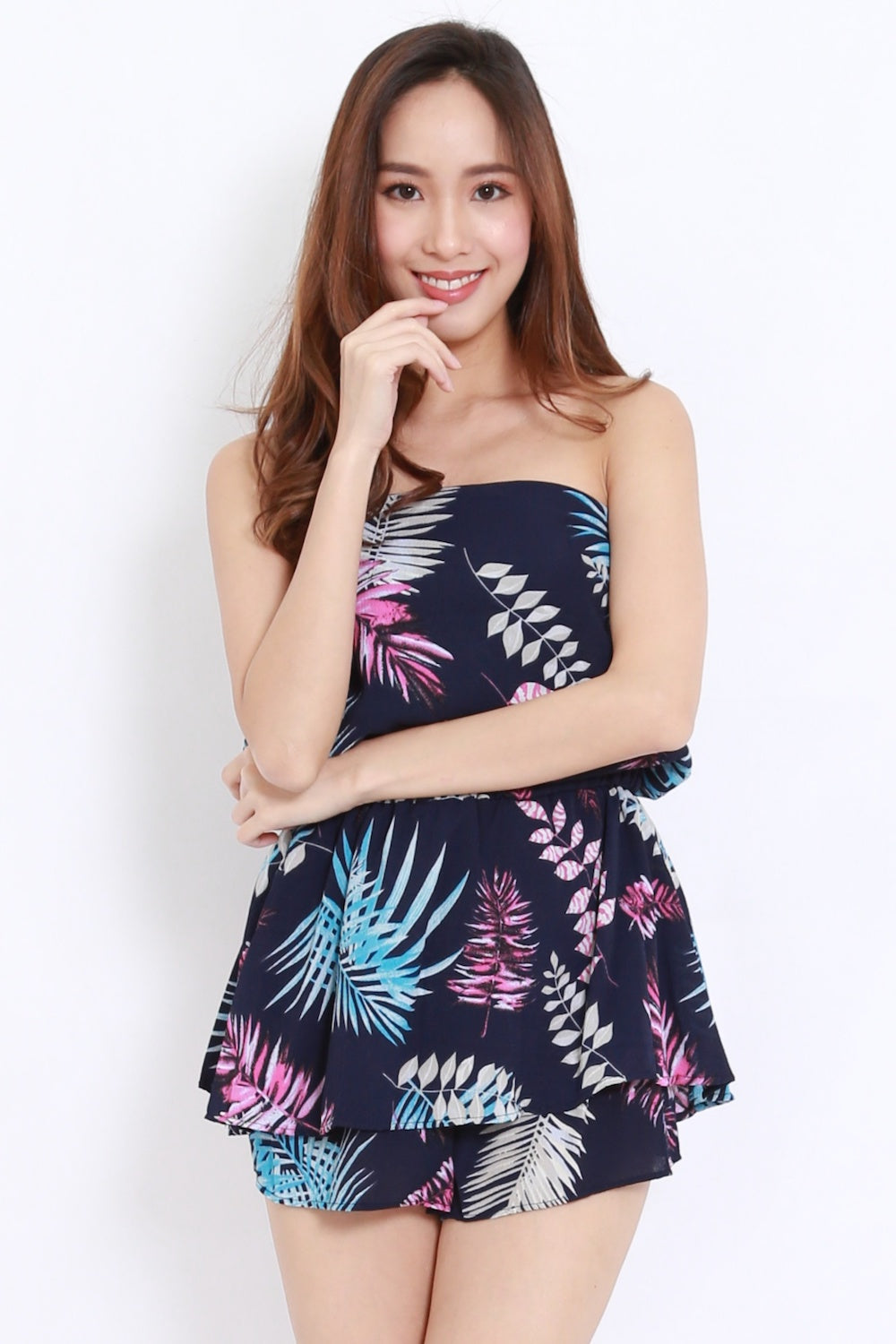 Abstract Leaves Tube Romper (Navy Tropical)